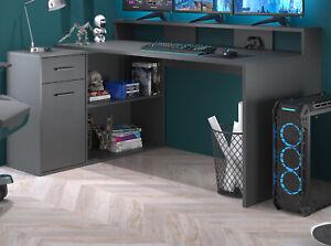 Schreibtisch und Eckschreibtisch Stauraum Schublade Anthrazit 160 - 200 cm Gamer
