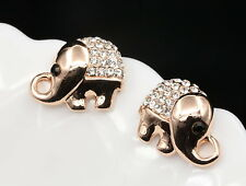 Cute shiny elephant rose gold clear black crystals stud earrings girls gift G51