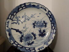 """Huge 18"""" ANTIQUE JAPANESE IMARI BLUE-WHITE SCALLOP BORDER CHARGER  HAND PAINTED"""