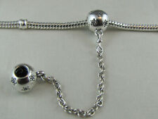 SOLID STERLING SILVER & CRYSTAL SAFETY CHAIN EURO STYLE CHARM BRACELETS #SC-040