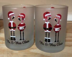 NEW Set of 2 Culver Flamingo Mr Mrs Claus Santa Christmas Holidays Glass 14 oz