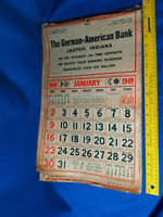 1949 German American Bank Advertising Calendar Jasper, Indiana Professor Burd's