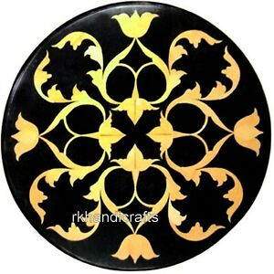 12 Inches Black Marble Coffee Table Top Inlay Bed End table with Amazing Design