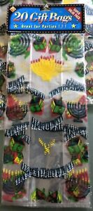NEW  Pack of 20 Happy Hanukah Cellophane Gift Bags 5 x 11.5 x 2 in.