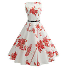 Women Flowers Sleeveless 1950s Retro Vintage Swing Cocktail Evening Party Dress