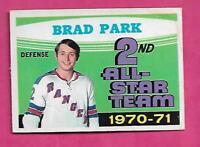 1971-72 OPC # 257 RANGERS BRAD PARK AS VG CARD  (INV# C0601)