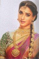 Indian CZ Jadau Billalu Traditional Gold Plate Bridal Plait Hair Choti Accessory