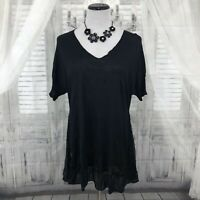 EILEEN FISHER Large Black Silk V Neck Short Sleeve Blouse Shirt Top Tunic B5