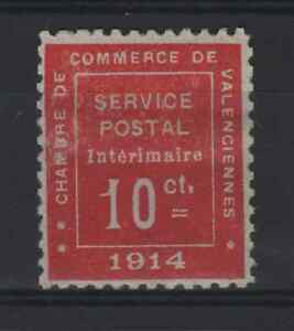 """FRANCE YVERT WAR STAMP 1 """" VALENCIENNES 10c 1914 VERMILION """" MH VF MUST SEE R091"""