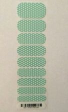 Jamberry Nail Wraps White & Teal Polka Pattern B127 w/a Glossy Finish Half-Sheet