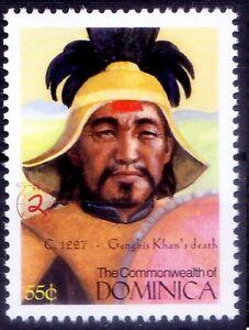 Mongol Warrior Genghis Khan Death, History, Dominica 2000 MNH, Millennium