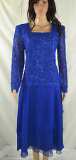 New listing Vintage 80'S Cobalt Blue Lace Cocktail Chiffon Dress By After Dark Size 9/10