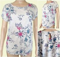 New Ex Per Una Ladies Floral Pink & Beige Jersey Short Sleeve Top Size 10 - 24