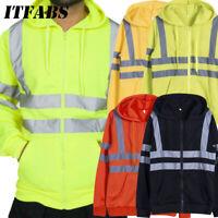 Hi-Vis Insulated Safety Bomber Reflective Tape Jacket Coat Road Work Zip Hoodie