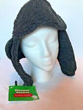 Giovanni Navarre -Men's Aviator Style Winter Hat Black Leather Faux Fur - Size L