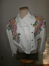 womens white jean -denim-jacket-decorated flowers EUC size M-FREE SHIPPING