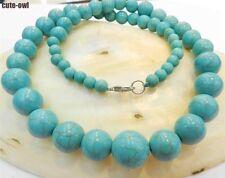 "6-14mm Blue Turkey Turquoise Gems Round Beads Necklace 18"""