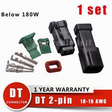New 1 set Deutsch DT 2 Pin Black Connector Kit 18-16 Ga Contacts Connector