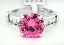 PINK SAPPHIRE 5.10 Cts  & WHITE SAPPHIRE RING Silver Plated * Size 5.75 NWT