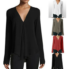 Office Women M~2XL Oversize T-Shirt Blouse V-Neck Summer Shirts 5 Colors Tops