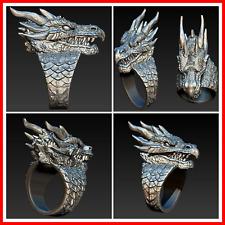 Para Hombre Dragon Anillo Moda Punk Gótico Retro Regalo De Motocicleta Joyería Anillos de animales