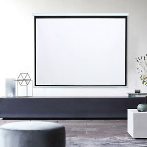 60-100 Inch Manual Screen Pull Down Wall Mounted Projector Screen Home Movie