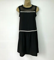 Comptoir des Cotonniers Dress Size Small Black Ivory Band Sheer Mesh Panel