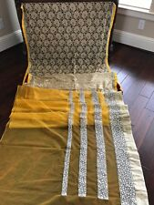 New Preeti Sahni Designer Saree Indian Bollywood Net Sari Yellow Embroidery Lace