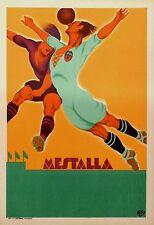 Original vintage sport Soccer Football poster affiche Spain Mestalla 30's