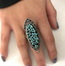 Antiqued Silver Tone Cocktail Ring Ladies Turquoise Steam Sz 9.5  ~USA Seller~