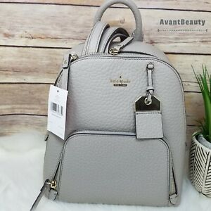 NWT Kate Spade Caden Carter Leather Backpack Soft Taupe Gray Handbag Authentic