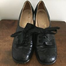 Vintage Shoe Biz at Bendel Pumps Black Oxford Heels Sz 5 1/2 Leather Italy 1970s