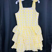 GYMBOREE Yellow White Bows Kids Dress. Size 8 (7-8 Years). New With Tags