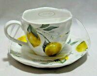 Grace Fine Porcelain Lemon Coffee Cup & Saucer Set New