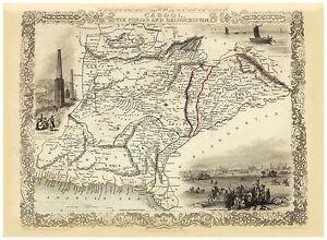 Old Vintage Map Afghanistan Punjab richly illustrated Tallis 1851