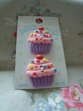 Card : Sweet Treats 2 Lg. Cup Cake Realistic Plastic Buttons - Pinks / Purple