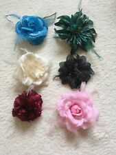 6 X Flower Hair Clips / Brooches With Feathers - Blue, Pink, Green, Red, Black,