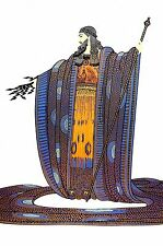 Erte ZEUS Print 1982 - Greek GOD of THUNDER Bolt Mythology Art Deco Print Matted