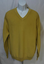 New NWT Greg Norman Mens Size M Long Sleeve V-Neck Sweater Gold Cotton Knit Top
