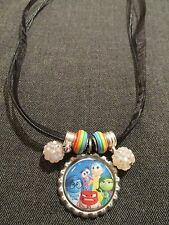 Ribbon Bottle Cap Bling Charm Necklace Beads Inside Out Joy Anger Disgust Fear