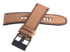 Diesel 26mm x 24mm Beige Leather Watch Band With Black Buckle
