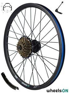 20 inch QR wheelsON Rear Wheel + 7 speed Freewheel Folding Bike Disc Black