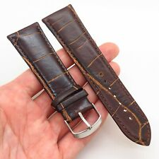 26mm Brown Genuine Alligator Leather Stainless Steel Stitched Watch Band Strap