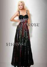 STEP OUT IN STYLE! BLACK BEADED FORMAL/EVENING/PROM DRESS; COLOR STRIPE AU14US12