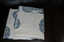 TWO Pottery Barn Rayna Paisley Blue Drapes Curtains 84'' Floor Length Excellent!