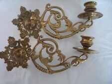 Pair Vintage Decorative Brass Candlestick Holder Wall Sconce Piano Swing Arm