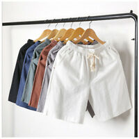 Men's Cotton Linen Shorts Solid Colors Drawstring Loose Beach Summer Pants CA