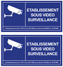 2 X ETABLISSEMENT SOUS VIDEO SURVEILLANCE ALARME CAMERA 12cm STICKER - VA101