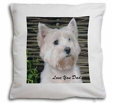 Westie Dog 'Love You Dad' Soft Velvet Feel Cushion Cover With Inner, DAD-131-CPW