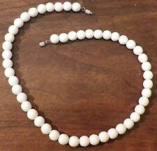 collier bijou vintage rétro perles ronde porcelaine blanche top qualité * 3421